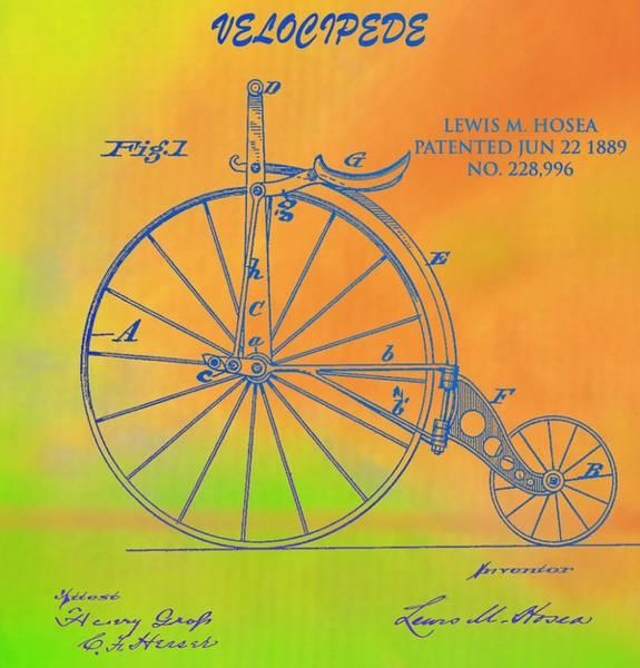 Digital Art - Pop Art Velocipede Patent by Dan Sproul