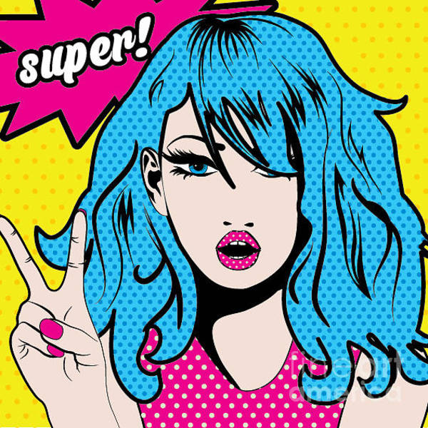 Sexy Digital Art - Pop Art Woman Super Sign. Vector by Gal Amar
