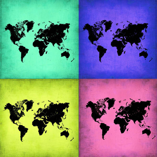 Wall Art - Painting - Pop Art World Map 2 by Naxart Studio