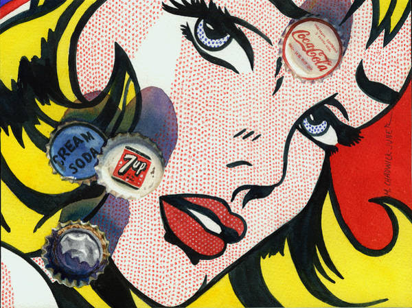 Soda Pop Painting - Pop Caps And Pop Art II by Marguerite Chadwick-Juner