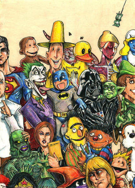 Culture Drawing - Pop Culture Ventriloquist Mashup by John Ashton Golden