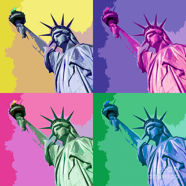 Iconic Digital Art - Pop Liberty by Delphimages Photo Creations
