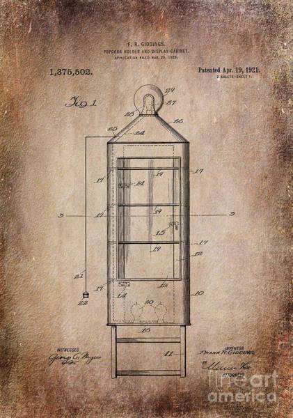 Digital Art - Popcorn Display Antiqued Patent Art by Lesa Fine