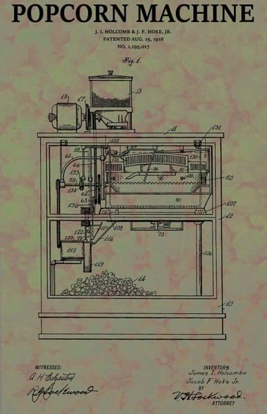 Wall Art - Mixed Media - Popcorn Machine Patent by Dan Sproul