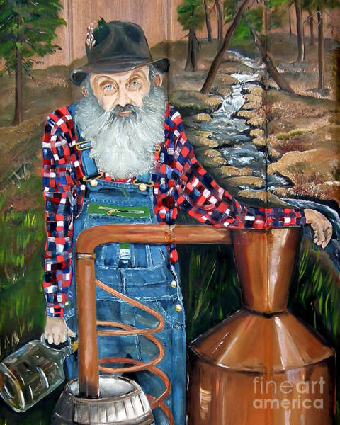 Painting - Popcorn Sutton - Bootlegger - Still by Jan Dappen