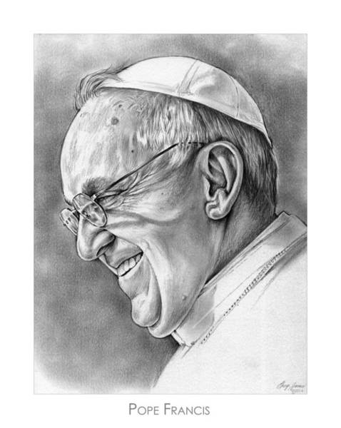 Celebrity Wall Art - Drawing - Pope Francis by Greg Joens