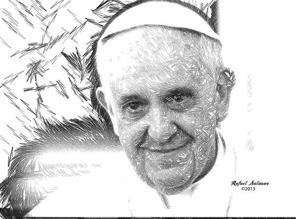 Digital Art - Pope Francis - Jorge Mario Bergoglio by Rafael Salazar
