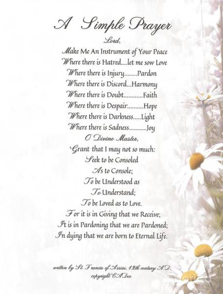 Simple Life Mixed Media - Pope Francis St. Francis Simple Prayer Daisies by Desiderata Gallery