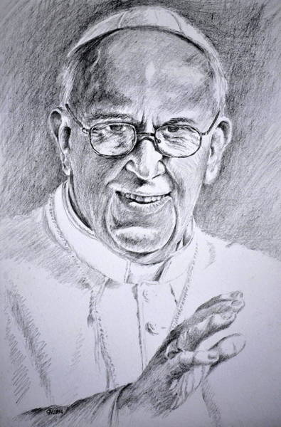 Actually Drawing - Pope Franciscus by Henryk Gorecki