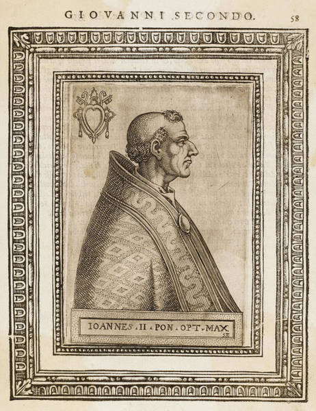 Wall Art - Drawing - Pope Joannes II (mercurius)  The First by Mary Evans Picture Library