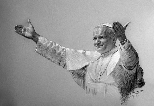 Pastel Portrait Wall Art - Drawing - Pope John Paul II Bw by Ylli Haruni