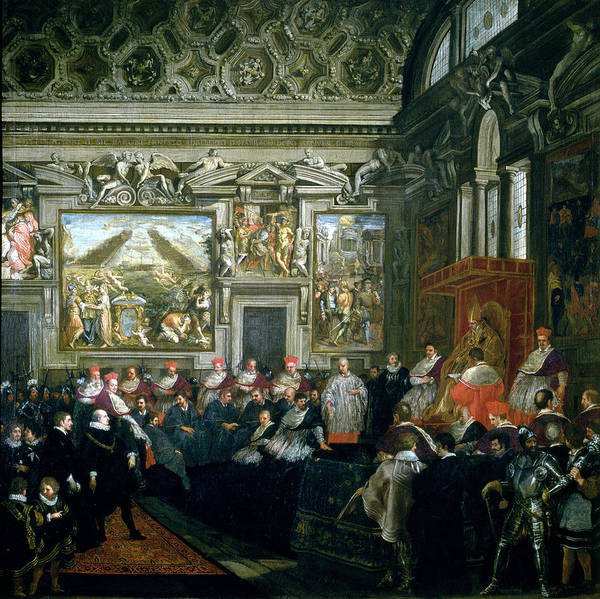 Graf Photograph - Pope Paul V 1522-1621 With An Audience, 1620 Oil On Canvas by Pietro da Cortona
