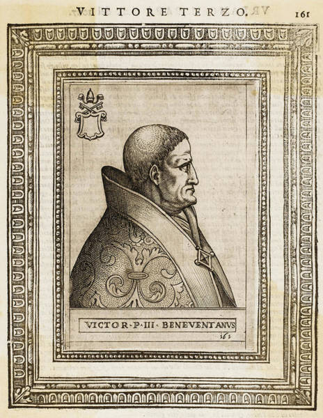 Wall Art - Drawing - Pope Victor IIi (desiderius) by Mary Evans Picture Library