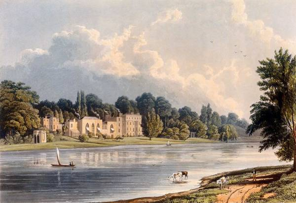 River Bank Drawing - Popes Villa At Twickenham, 1828 by William Westall