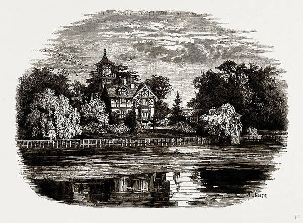 Villa Drawing - Popes Villa, Uk, Engraving 1881 - 1884, Alexander Pope by Litz Collection
