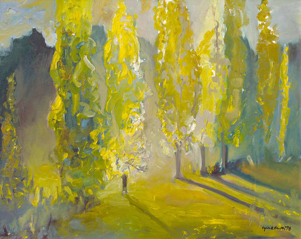 Painting - Poplars In The Morning by Lynn Hansen