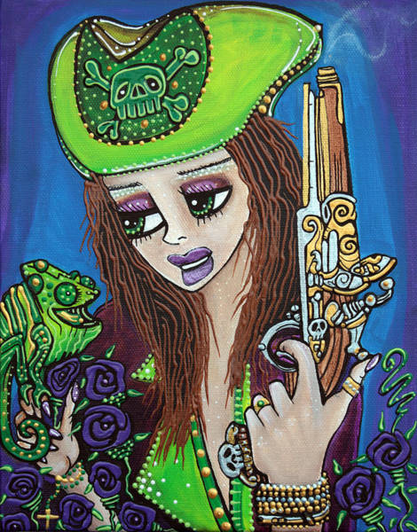 Wall Art - Painting - Poppet Pirate At Chameleon Cove by Laura Barbosa