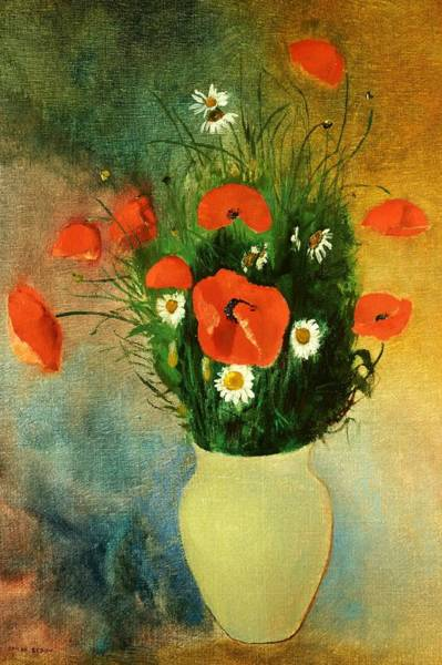 Plant Reproduction Painting - Poppies And Daisies by Odilon Redon