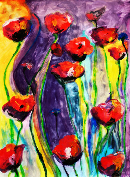 Remembrance Painting - Poppies And Wildflowers by Chastity Hoff