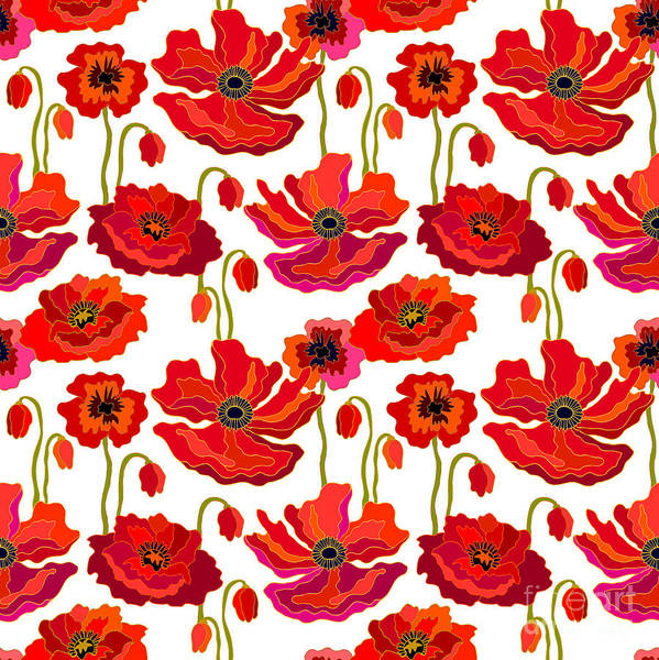 1960s Digital Art - Poppies Field. Seamless Vector Pattern by Svetlana Kononova