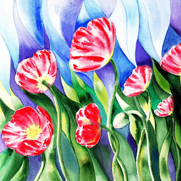Style Painting - Poppies Field Square Quilt  by Irina Sztukowski