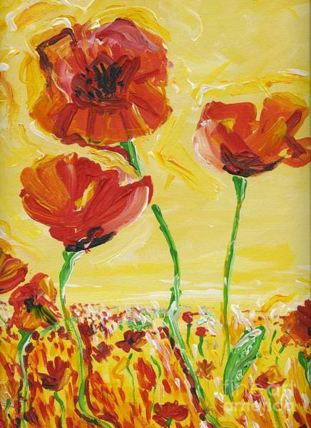 Impressionistic Landscape Drawing - Poppies Impression by Eric  Schiabor