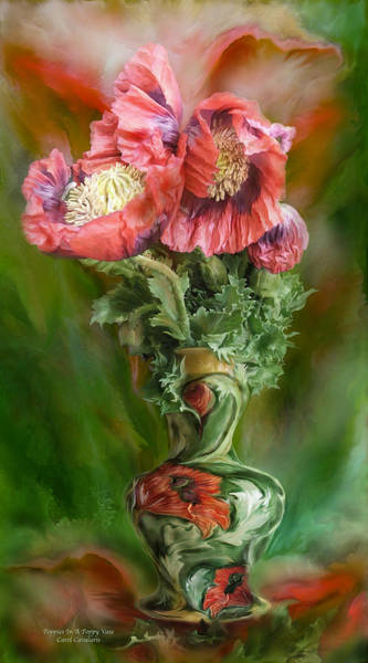 Mixed Media - Poppies In A Poppy Vase by Carol Cavalaris
