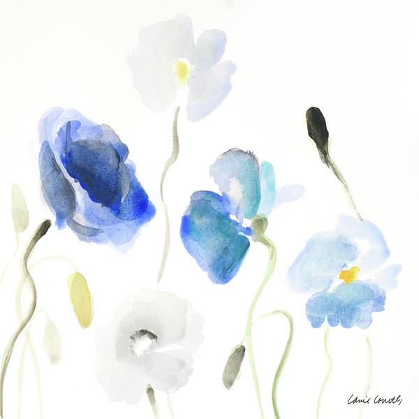 Wall Art - Painting - Poppies In The Blues II by Lanie Loreth