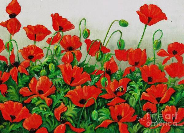 Painting - Poppies On Parade by Val Stokes