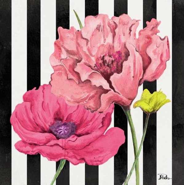 Poppies Digital Art - Poppies On Stripes I by Patricia Pinto