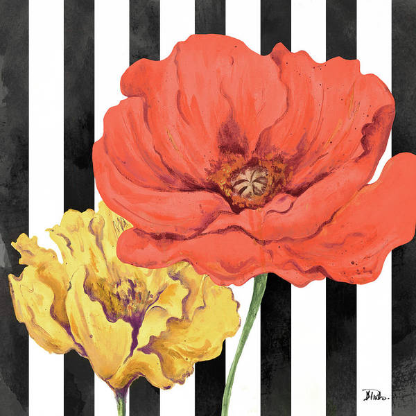 Poppies Digital Art - Poppies On Stripes II by Patricia Pinto