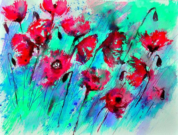 Wall Art - Painting - Poppies  by Pol Ledent