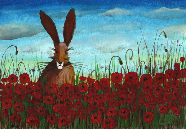 Chris Cox Painting - Poppy Field Hare by Chris Cox