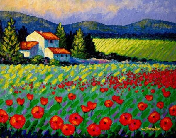 Provence Landscape Wall Art - Painting - Poppy Field - Provence by John  Nolan
