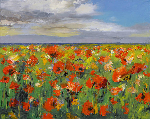 Arte Painting - Poppy Field With Storm Clouds by Michael Creese