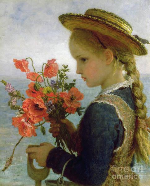 Lace Painting - Poppy Girl by Karl Wilhelm Friedrich Bauerle