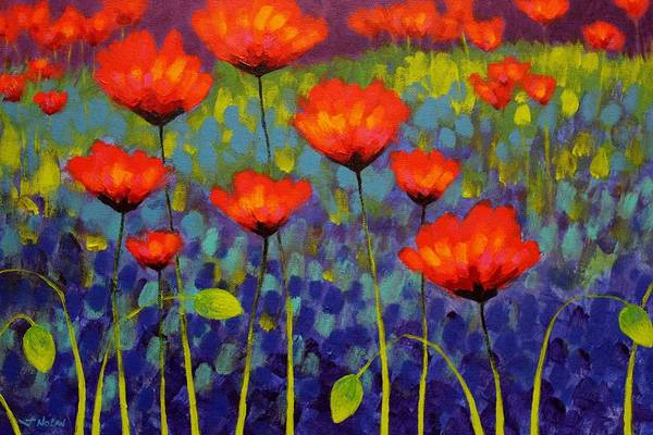 Atmospheric Painting - Poppy Meadow   Cropped 2 by John  Nolan
