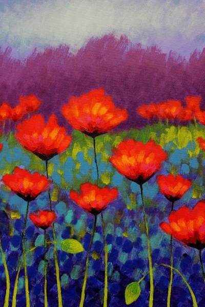 Wall Art - Painting - Poppy Meadow   Cropped by John  Nolan