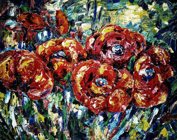 Painting - Poppy Red Flowers by OLena Art - Lena Owens