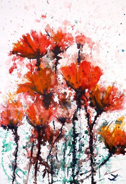 Painting - Poppy Splashes by Zaira Dzhaubaeva
