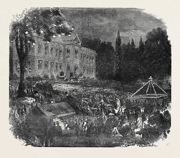 Chateau Drawing - Popular Amusements Of Paris The Chateau Of Asnieres by English School