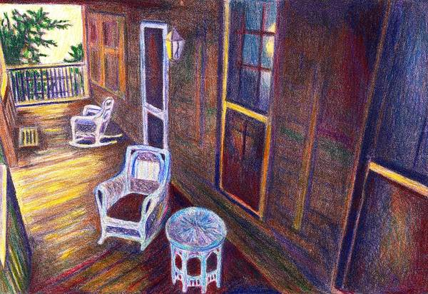 Drawing - Porch In Golden Light by Kendall Kessler