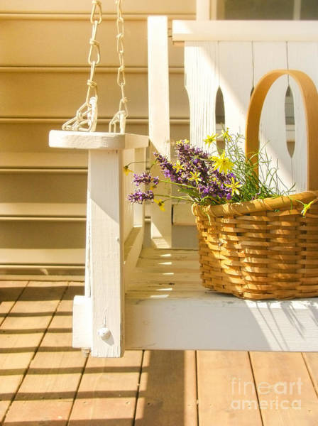 Porch Wall Art - Photograph - Porch Swing With Flowers by Diane Diederich