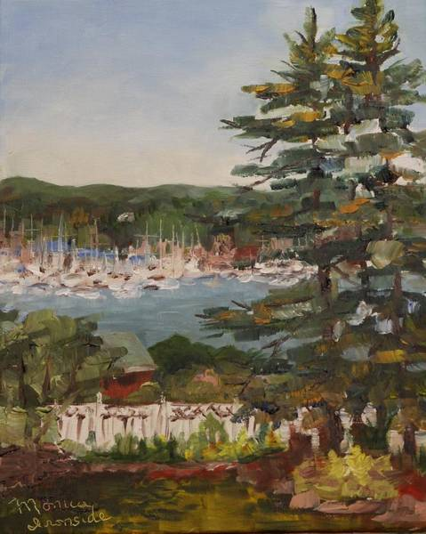 Painting - Porch View Of Beacons Bay Marina by Monica Ironside