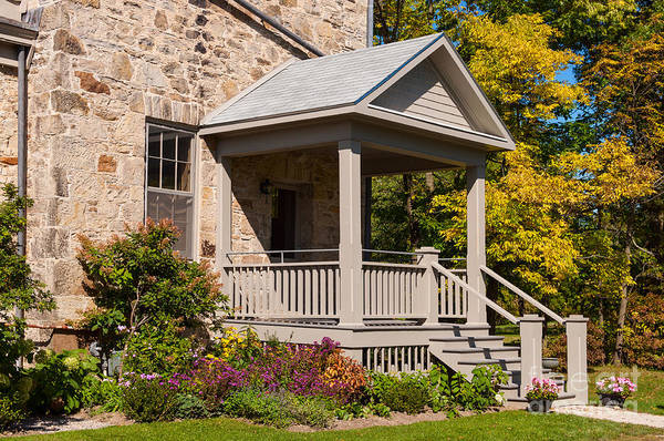Photograph - Porch With Colorful Flowers And Trees by Les Palenik