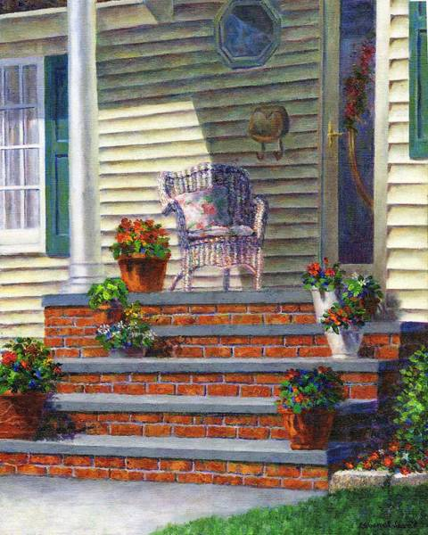 Painting - Porch With Pots Of Geraniums by Susan Savad