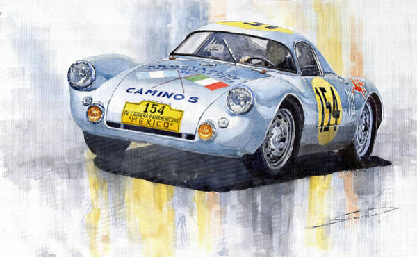 Motorsport Painting - Porsche 550 Coupe 154 Carrera Panamericana 1953 by Yuriy Shevchuk