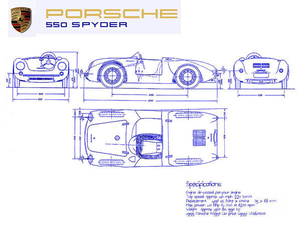 Wall Art - Drawing - Porsche 550 Spyder Blueprint  by Jon Neidert