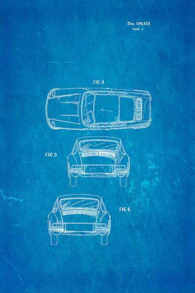 Fitter Photograph - Porsche 911 Car 2 Patent Art 1964 Blueprint by Ian Monk
