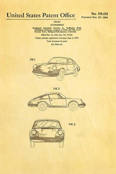 Wall Art - Photograph - Porsche 911 Car Patent Art 1964 by Ian Monk